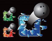 multiple colored icon breaking bowling balls