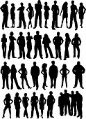 pic of person silhouette  - Lots of silhouettes of casual people and friends - JPG