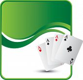 playing card aces on green wave background