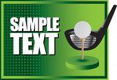 bola de golfe no tee com clube no banner horizontal de meio-tom verde