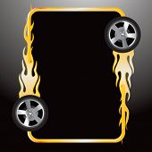 flaming tire on web icon