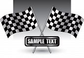 bandeiras de corrida xadrez na placa de identificação