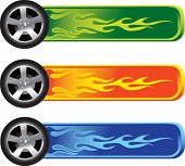flaming tires on colored banners