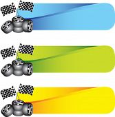 racing tires and checkered flags on colored tabs