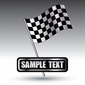 Bandeira de corrida quadriculada na placa de identificação