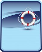 life ring on blue background