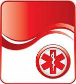 caduceus medical symbol on red background