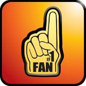 number one fan foam hand on orange web button