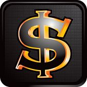 dollar sign on black web button