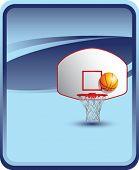 Постер, плакат: баскетбол спинодержатель и обручем на синем фоне