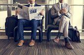Business Men Break Sit Read Newspaper poster