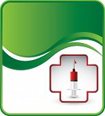 syringe with blood in first aid icon on wave background template