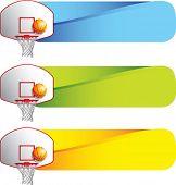 basketball hoop and backboard on colored tabs