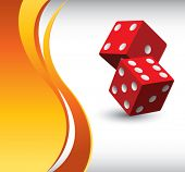 red dice on orange wave background