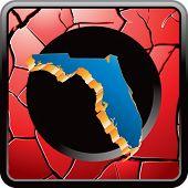 forma de estado de Florida no ícone vermelho web rachado