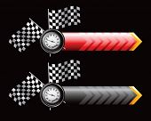 speedometer and checkered flags on arrow banners
