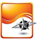 voando a estrela de prata sobre fundo laranja onda