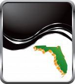 forma de estado de Florida em fundo preto de onda
