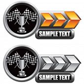 racing checkered flags and trophy on shiny arrow banners
