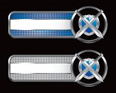 crossed swords and shield on blue and silver web banners