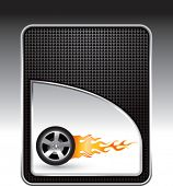 flaming racing tire black backdrop
