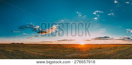 poster of Sunset, Sunrise Over Rural Meadow Field In August Month. Countryside Landscape Under Scenic Summer D