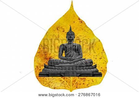 poster of Ancient Buddha, Close Up Buddha Statue In Golden Bodhi Leaf On White Background Or Ancient Buddha Is