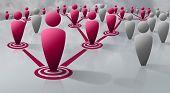 Social or biological network of human figures