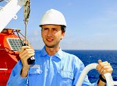 Navigation Officer Talks By Vhf Walkie-Talkie Radio