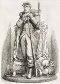 Pont de l'Alma military statue, Paris: grenadier. Created by Marc after sculpture of  Dieboldt, published on L'Illustration, Journal Universel, Paris, 1858
