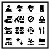 Icons set hosting serie cuadrada