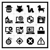 Seguridad los iconos conjunto - serie cuadrada