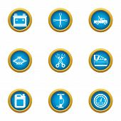 Motor Car Icons Set. Flat Set Of 9 Motor Car Icons For Web Isolated On White Background poster