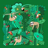 Cute Sloths Hanging On Jungle Trees. Hand Drawn Adorable Animal Illustration. Rainforest Illustratio poster