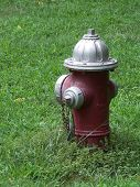 Red And Silver Fire Hydrant