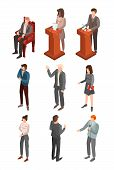 Political Conference Icon Set. Isometric Set Of Political Conference Icons For Web Design Isolated O poster