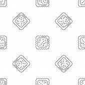 Cracked Biscuit Icon. Outline Illustration Of Cracked Biscuit Vector Icon For Web Design Isolated On poster