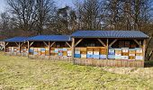 picture of honey bee hive  - Three same bee houses in a row - JPG