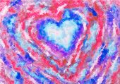 A Painting Of Colorful Heart, Valentine Heart On Canvas.colorful Abstract. Oil Painting On Canvas. poster