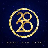 2020 Christmas Background With Golden Ball And Glitter. Gold Number 20 & 20 And Text Happy New Year, poster