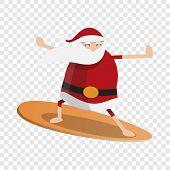 Santa Claus Surfing Icon. Cartoon Of Santa Claus Surfing Icon For Web Design poster