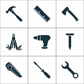 Tools Icons Set With Utility Knife, Multi Tool, Measurement And Other Ruler Elements. Isolated Vecto poster