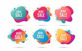 Wow Sale. Special Offer Price Sign. Advertising Discounts Symbol. Abstract Dynamic Shapes With Icons poster