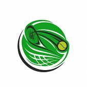 Abstract Vector Icon With Tennis Racket And Ball. Creative Emblem In Green Color For Tennis Club Or  poster