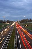 Traffic jam on the famous highway A9 near Amsterdam in the Netherlands at twilight