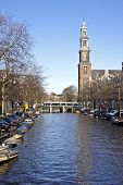Amsterdam inner city with the Westerkerk in the Netherlands