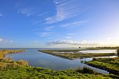Typical dutch landscape: water, dykes and wideness at the IJsselmeer in the Netherlands