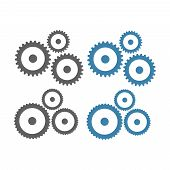 Gears Vector Icons. Gear Wheel Machine Signs poster