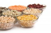 pic of urad  - Grains pulses and beans in bowl isolated over white over - JPG