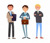 Man Talking With Business Companions, Businessman With Briefcase And Documentation Vector. Partners  poster